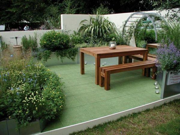 Innovativ terrassenbelag rasenteppich fliesen gras bepflanzung außenbereich  FB51