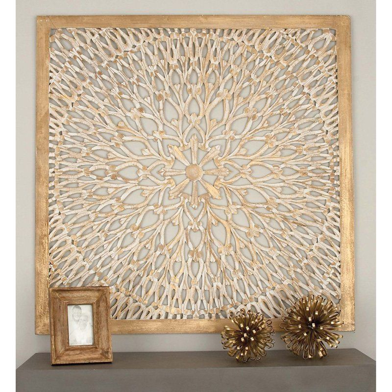 Decmode square wood light brown wall panel with circular filigree design from hayneedle com