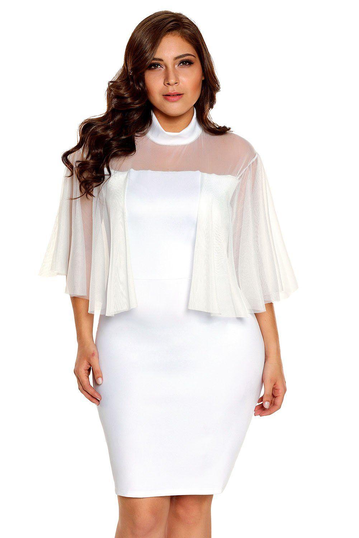 Turtleneck Semi sheer White Plus Size Dress