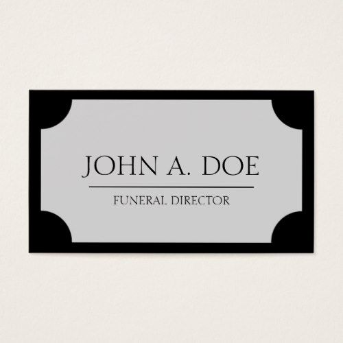 Funeral Director Silver Plaque Black Business Card