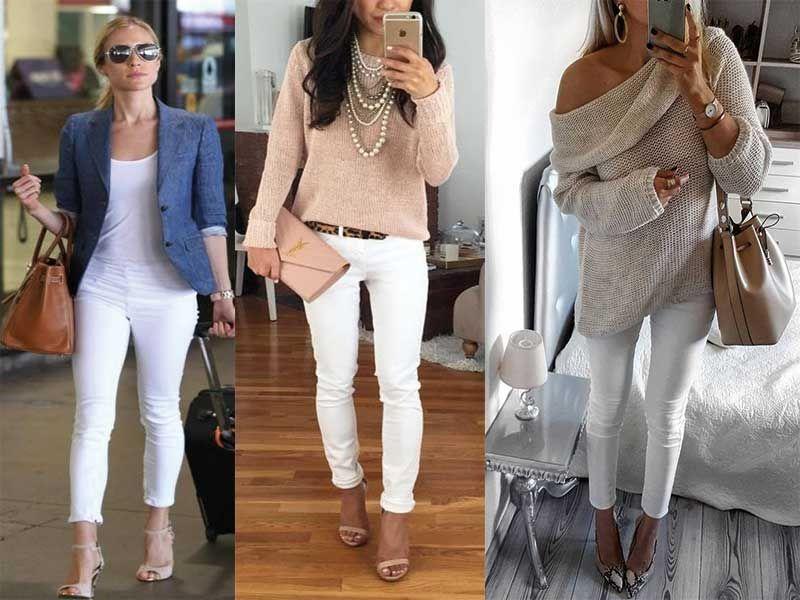 Bayan Beyaz Kot Pantolon Kombinleri Resimli Beyaz Kotlar Pantolon Kotlar