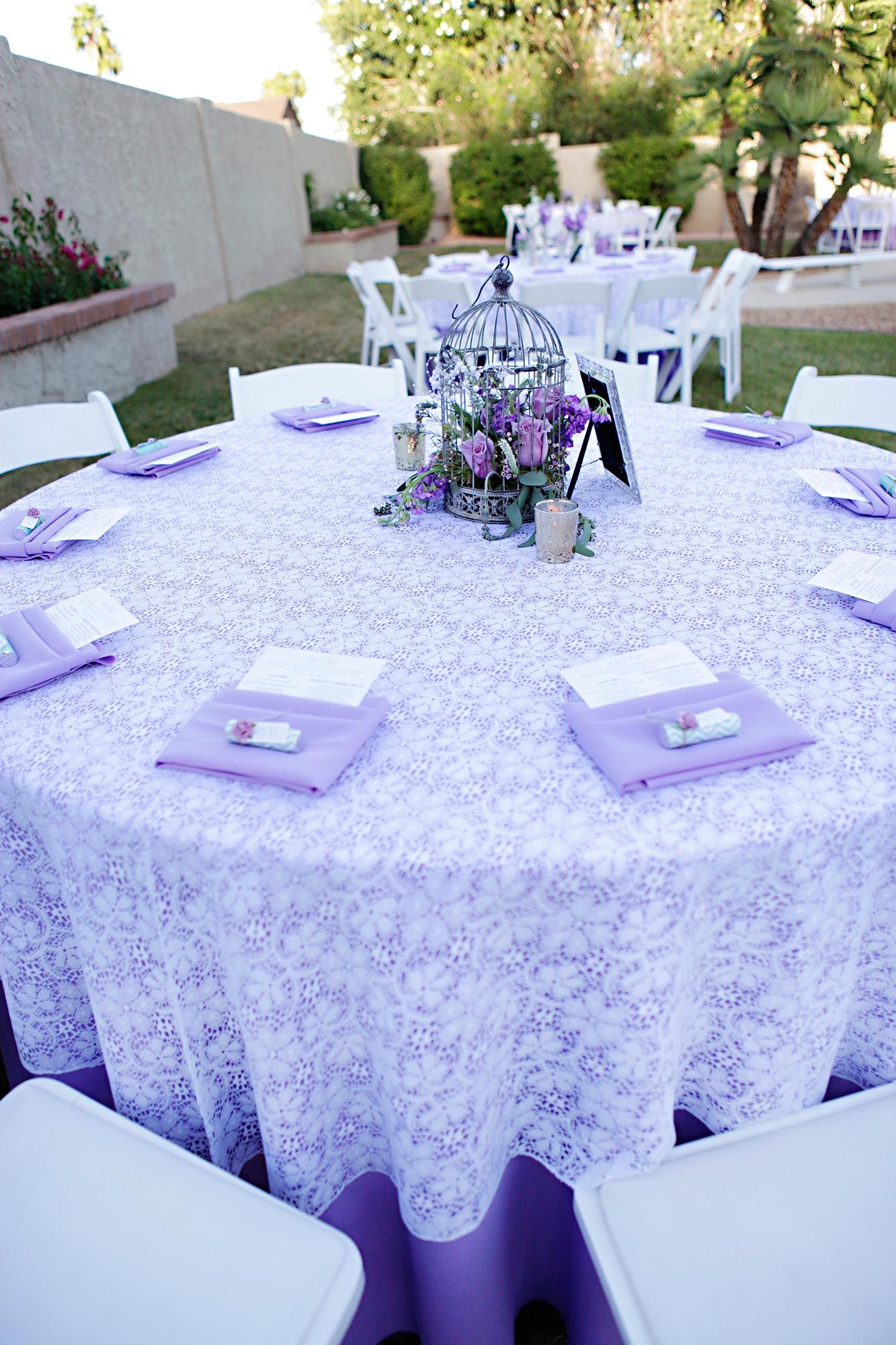 Lavender wedding decor ideas  The Pros and Cons of Throwing a Backyard Wedding  Purple wedding