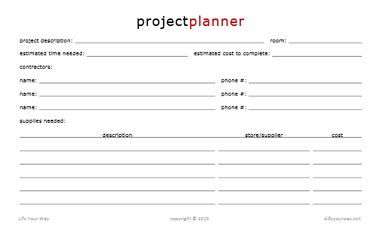 Project Planner Half Sheet  Project Planner And Planners