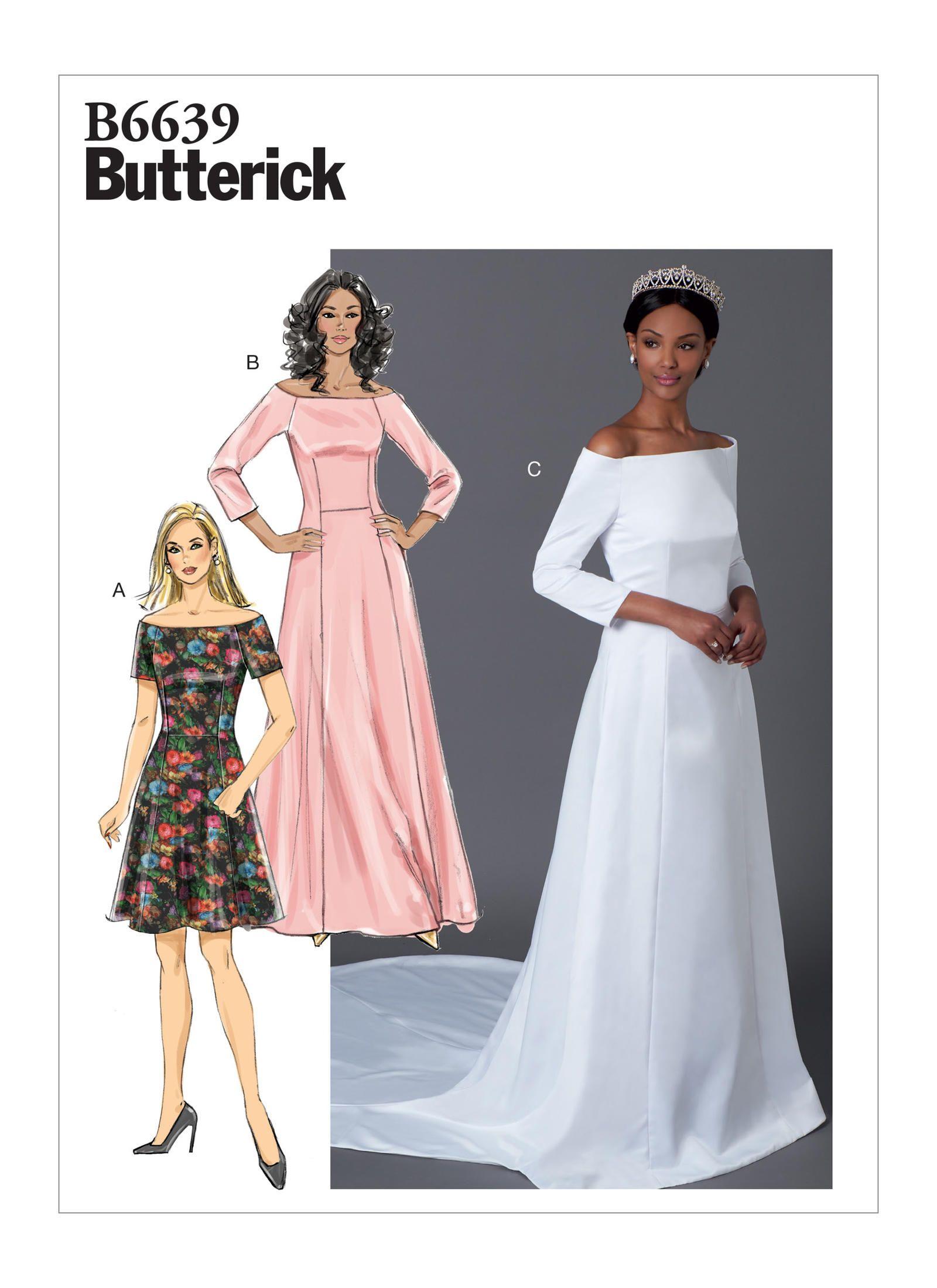 B6639 Misses Dress Sewing Pattern Butterick Patterns Wedding Dress Patterns Dress Sewing Patterns Gown Pattern