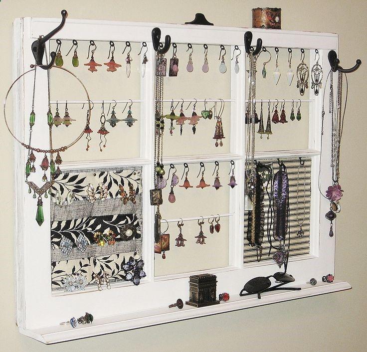jewelry frame Upcycled Decor Window Frame Wall Hanging Jewelry