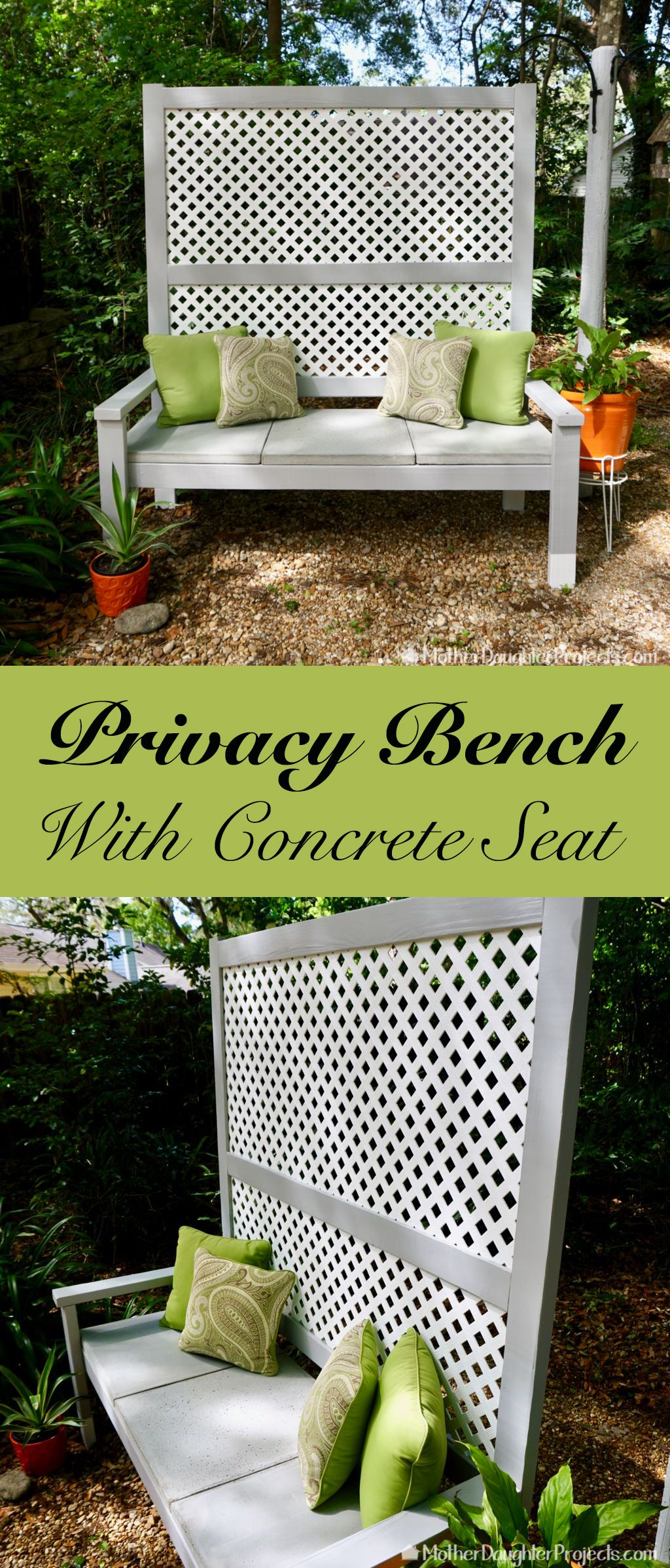 outdoor privacy bench with concrete seat ga¤rten