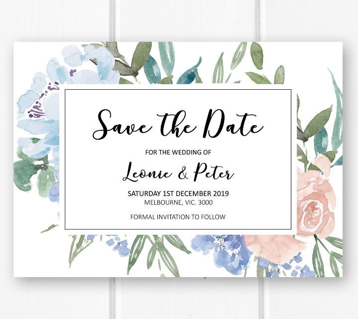 Free Electronic Wedding Invitations Templates: Blue Wedding Invitation Save The Date Printable, Baby Blue