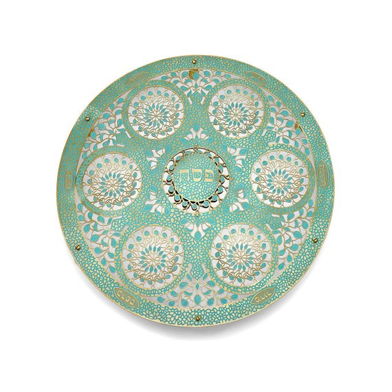 Jewish Wedding Food: Seder Plate, Large Round Mosaic , Judaica Hand Made In