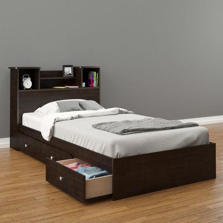 Nexera Pocono Twin Size Espresso Headboard And Storage Bed Twin In