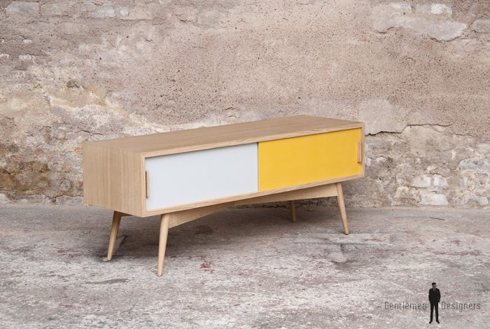PETIT MEUBLE TV BAS - scandinave - made in France