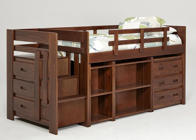 Modern Hutchinson Twin Mid High Stairway Loft Bed Trending - Minimalist bed with stairs and desk Contemporary