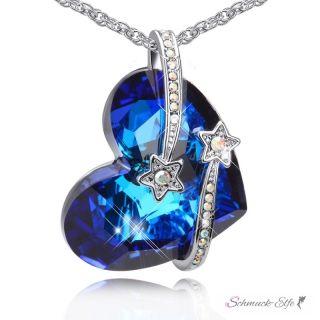 Anhänger Herz des Ozeans mit Stern Schnuppen royal blau