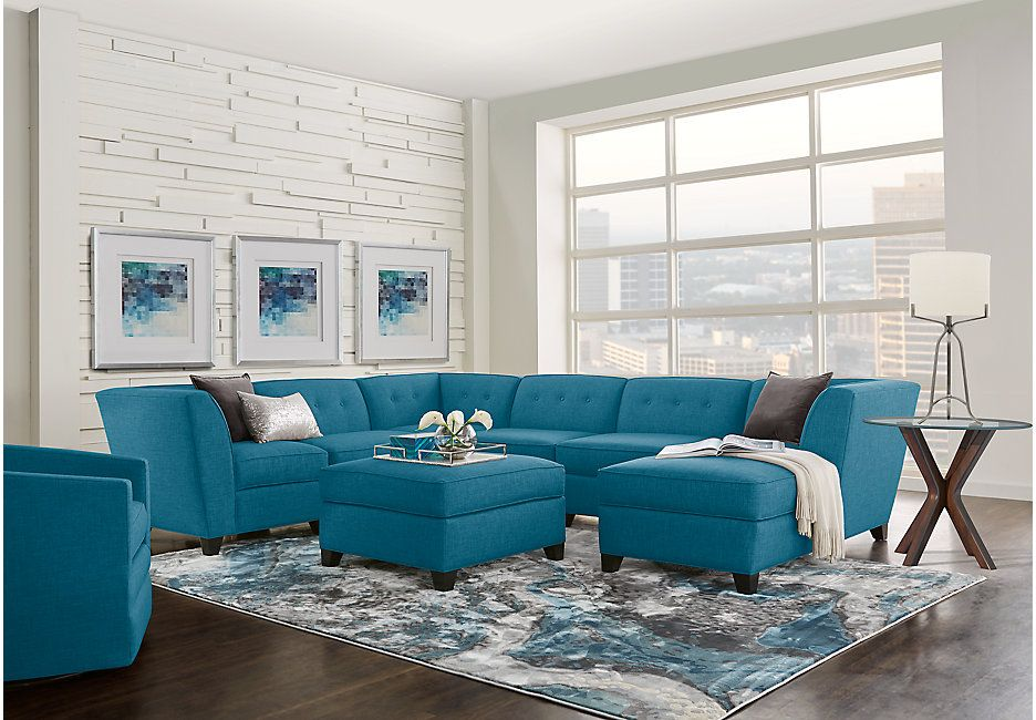 Harbour City San Marino Teal 8 Pc Sectional Living Room Living Room Turquoise Cheap Living Room Sets Living Room Sets