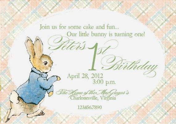 my Peter Rabbit invites (on etsy) in a fresh Peachy color scheme - fresh birthday invitation from a kid
