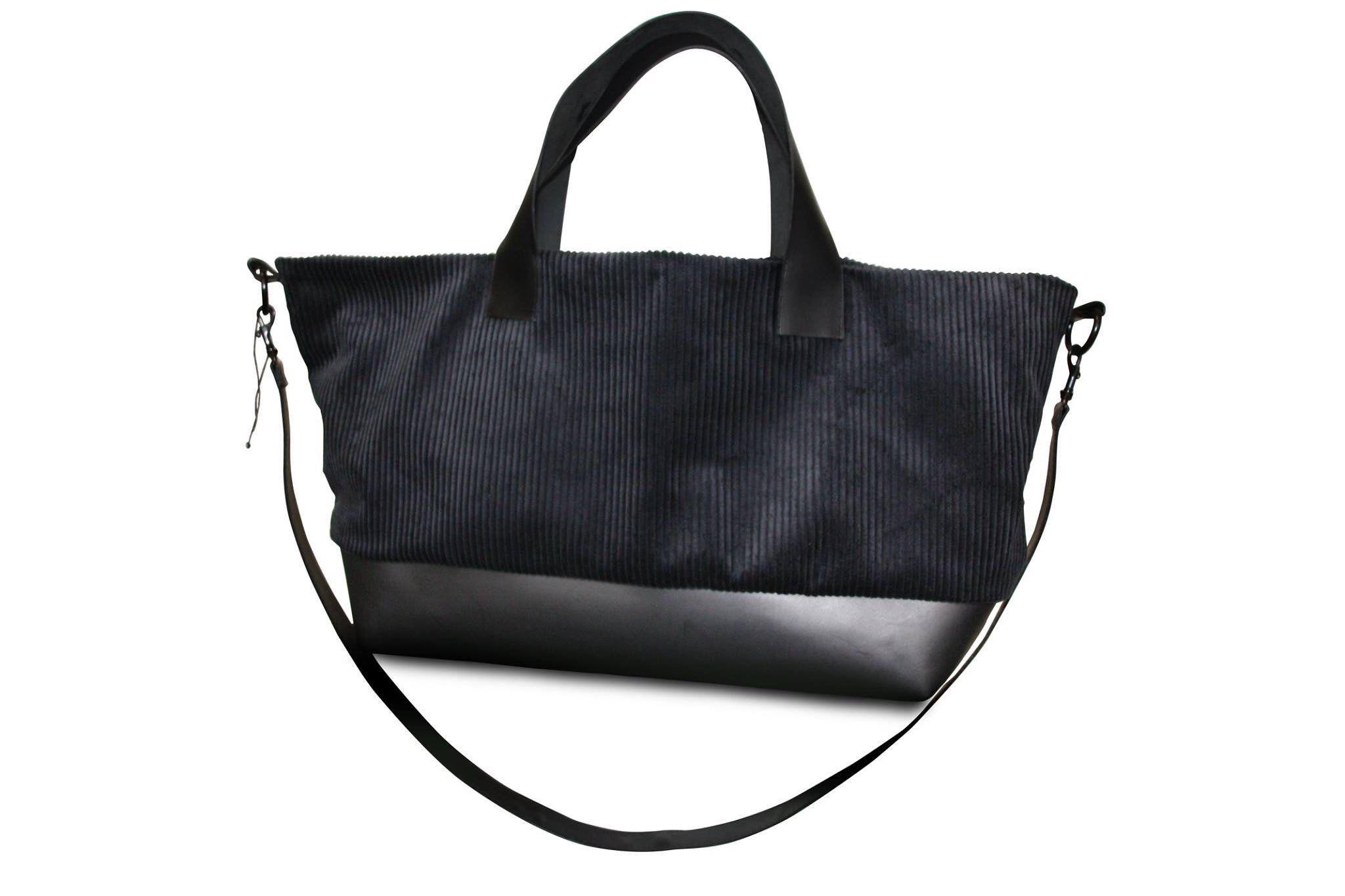 Tasche Cord Tote Schwarze Leder Bag D2YbEHIW9e