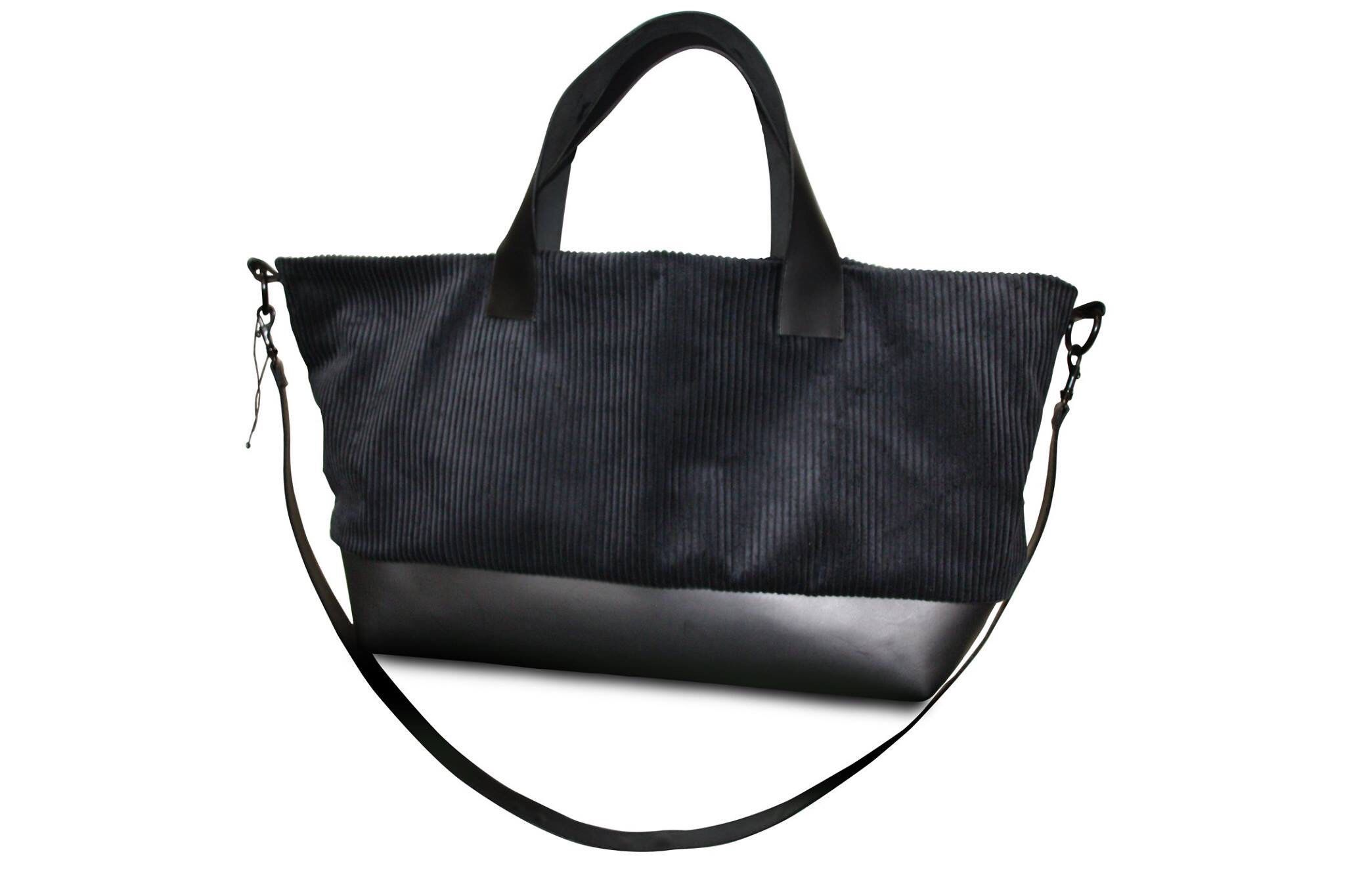 Cord Schwarze Leder Tote Bag Tasche HDW2IeY9E