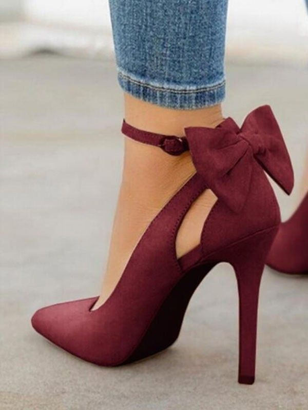 Wine Red Point Toe Stiletto Bow Fashion High-Heeled Shoes - Happy Hour   - cute outfits - #Bow #cute #Fashion #Happy #HighHeeled #Hour #Outfits #Point #Red #Shoes #Stiletto #Toe #Wine #redshoes
