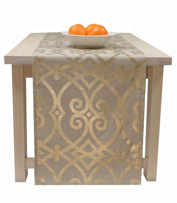Gold And Beige Table Runner Table Runner Easter Spring 60inch 72 Inches 90 Inches 108 Inche Gold Table Runners Holiday Table Linens Christmas Table Linen