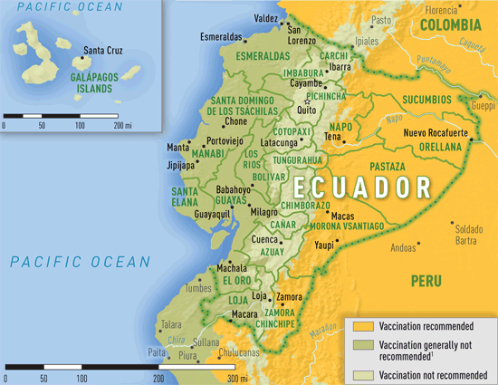 Map 326 Yellow fever vaccine recommendations in Ecuador Travel