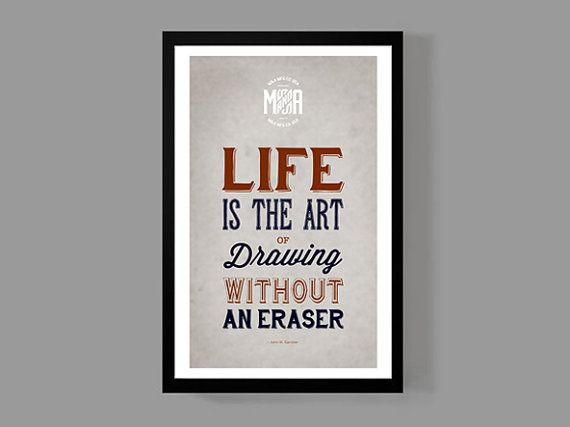 art print home decor life is the art of drawing without an eraser quote poster