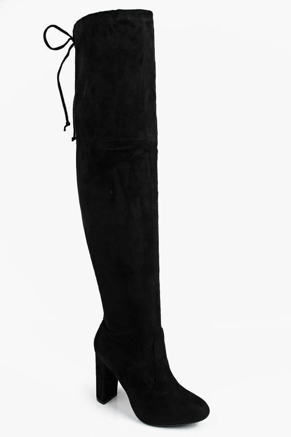 5640b835ba12 boohoo Mia Block Heel Lace Up Back Over Knee Boot