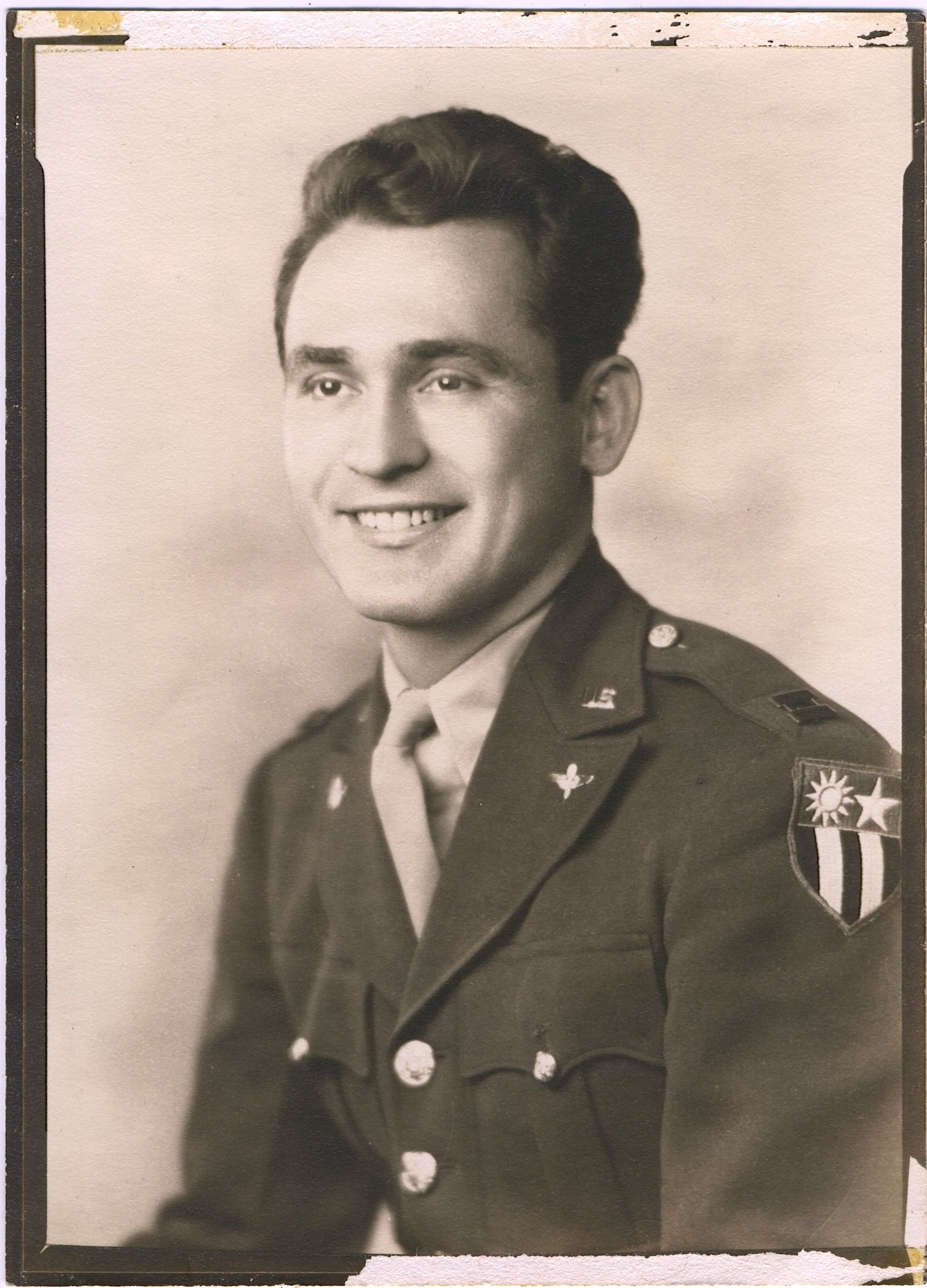 Major Andrew A. Barna, Army Air Corps.  Note China-Burma-India campaign shoulder patch, and AAC lapel pin OR Aviation Cadet badge.