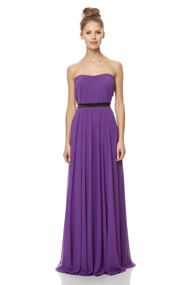 2015 Strapless A Line Floor Length Chiffon Bridesmaid Dress With ...