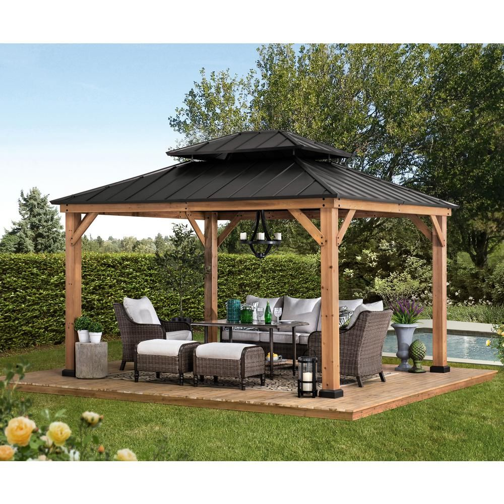 Sunjoy Archwood 12 Ft X 10 Ft Cedar Framed Gazebo With Steel Hardtop A102007500 The Home Depot In 2020 Backyard Renovations Backyard Pavilion Backyard Gazebo