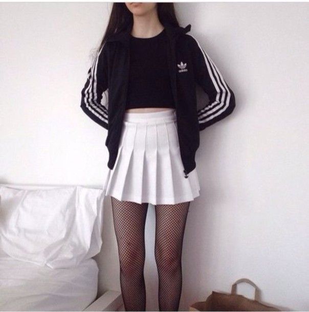 Skirt Grunge Adidas Jacket Black Black And White Pale Tennis Skirt Tights White Skirt Pleated Skirt Mini Skirt Pleats Black Fish Korean Fashion Fashion Clothes