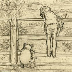 Artwork Found: Pooh Bear, Christopher Robin and Piglet Playing Poohsticks