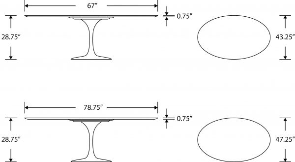Tulip Table Oval Carrara Rove Concepts Rove Classics MidCentury - Tulip table sizes