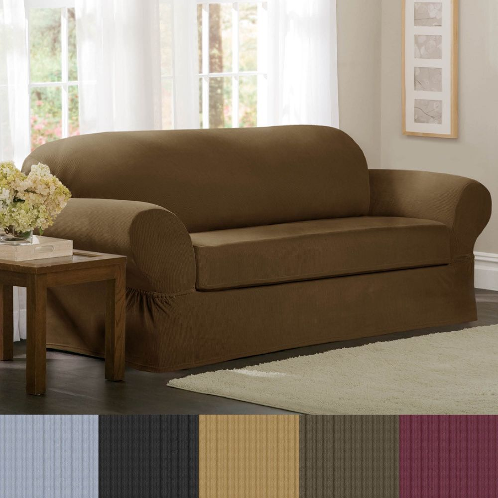 love the peacock blue color of this heavyweight stretch suede slipcover from sure fit change your dcor without a big investment