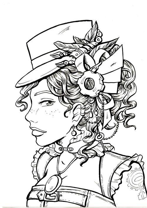 Steampunk coloring page printable adult Kleuren voor volwassenen ...