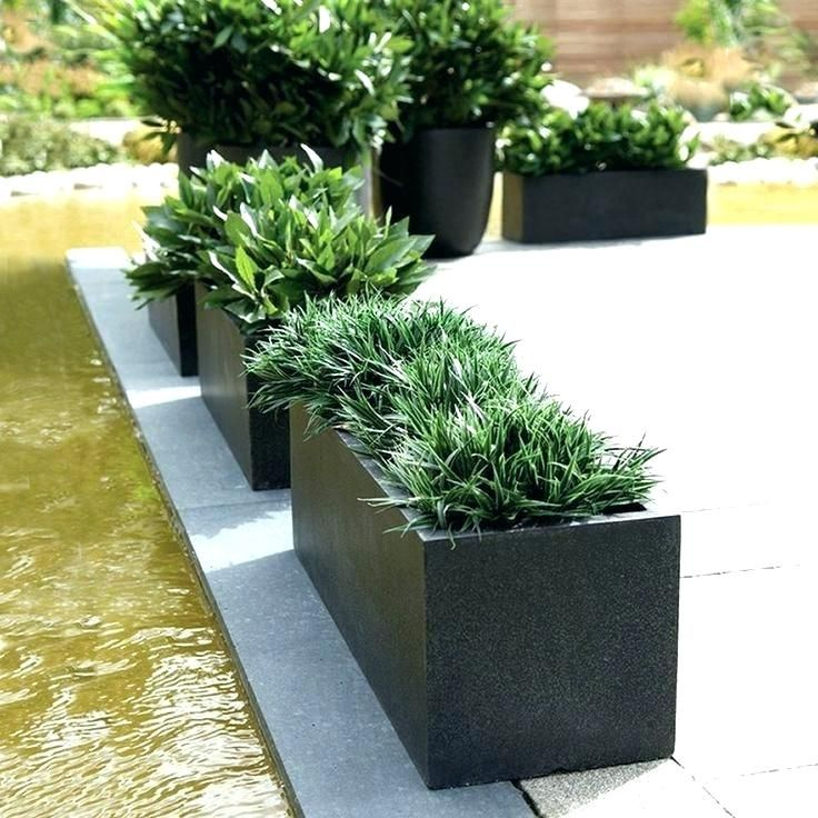 Large Modern Planters Rectangular Black Low