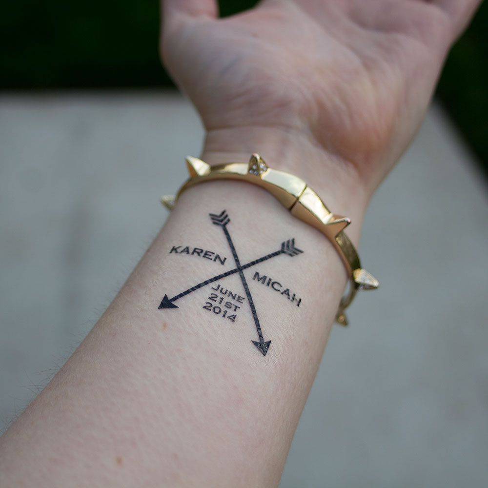 Arrow Wedding Tattoos Personalized With S Name Or Initials Date Tattoo Temporary Favor