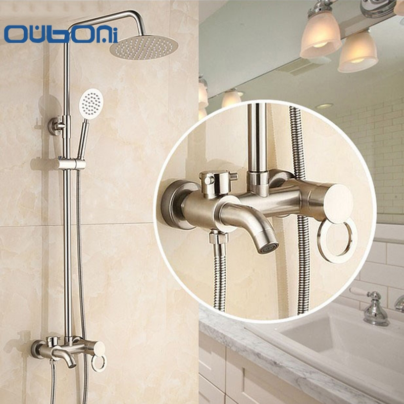 Best of 88 24$ Buy now OUBONI Fashion Style White Shower Faucet Cold and Hot Water Mixer Single Handle Adjustable rain Shower Bar Wall Mounted magazine Model - Latest shower knobs Top Design