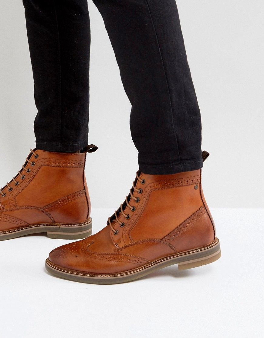 6719e980d39 Base London Hurst Leather Brogue Boots In Tan | Shoecraft lifestyle ...
