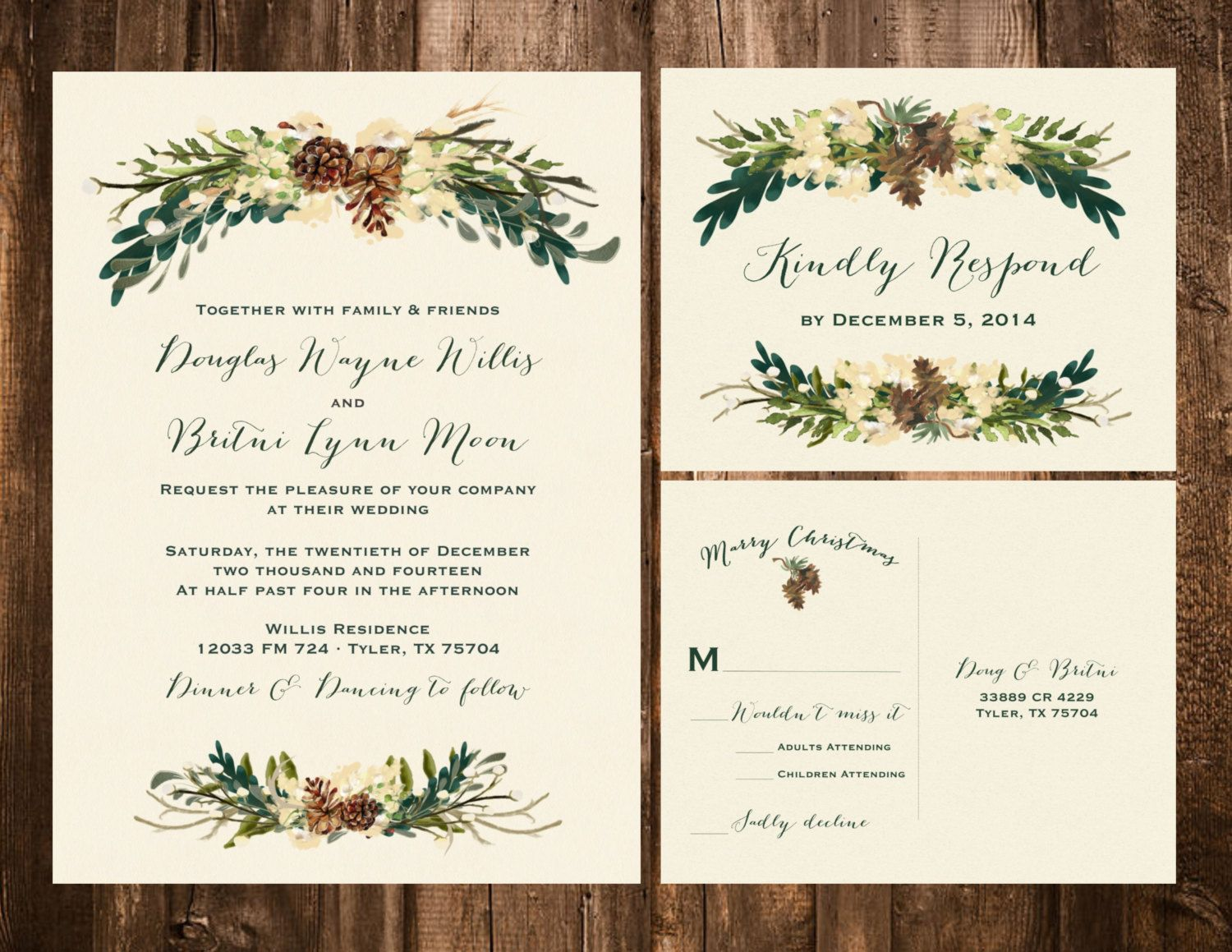 Winter Bohemian Wedding Invitation Set Printable Or Set Of 25
