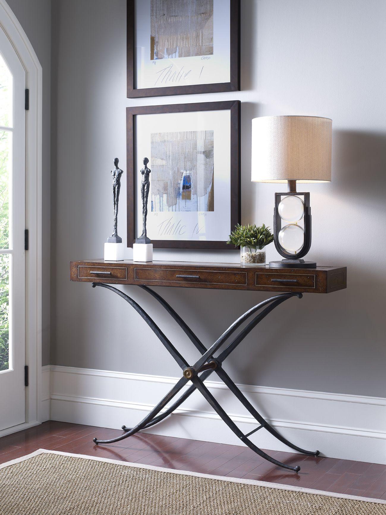 Burr oak veneered rectangular console table with inset brass burr oak veneered rectangular console table with inset brass beading and three drawers the x geotapseo Choice Image