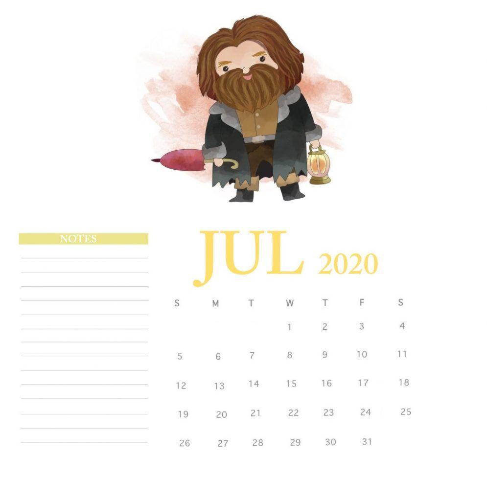 Harry Potter July 2020 Calendar Calendario Para Imprimir Gratis Ideas De Calendario Manualidades De Harry Potter