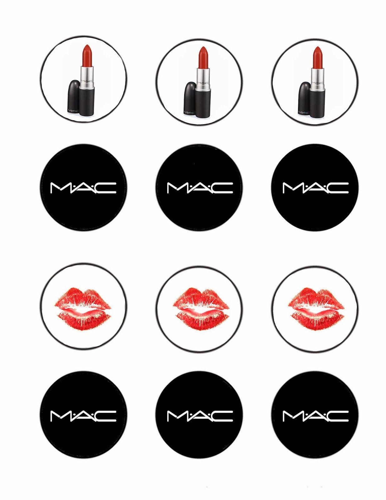 Free MAC cosmetics lipstick cupcake topper file | Kids ...
