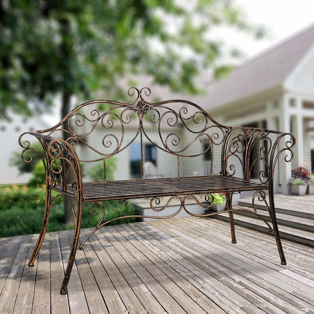 Bench Metal Antique Garden Bench With Decorative Cast Iron Backrest Metal Garden Benches Wrought Iron Bench Wrought Iron Outdoor Furniture