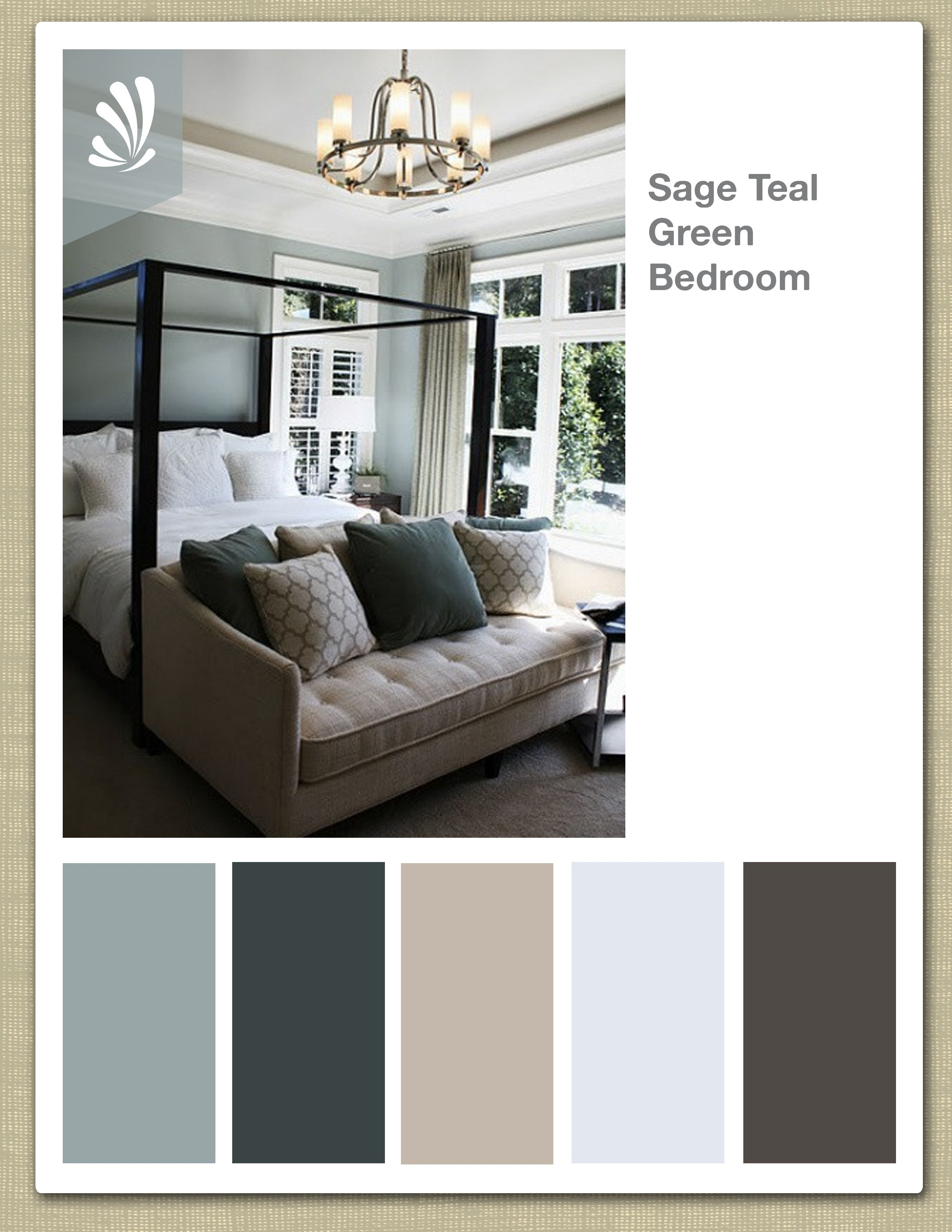 Sage, Cream, Oil Gray and Teal Green Color Palette