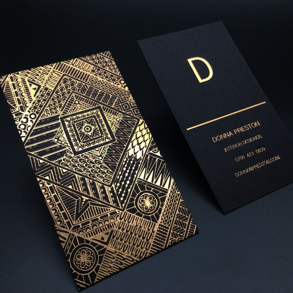 Luxury Gold Foil Black Card Business Card Customized Name Card ...