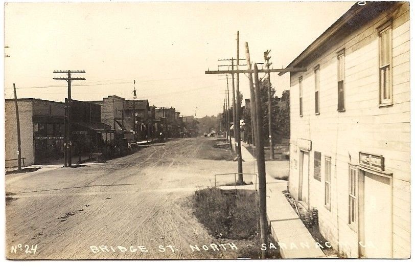 Bridge Street Stores >> Saranac Michigan Bridge Street Stores 1910 Rppc Postcard