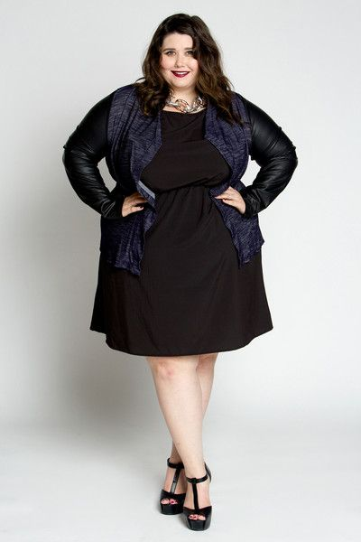 Plus Size Faux Leather Sleeve Jacket (Sizes 14 - 30) - Society Plus - Plus Size Fashion