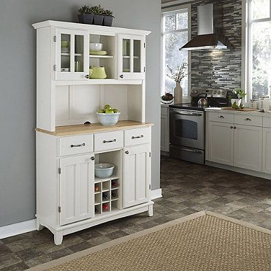 Home Styles Natural Wood Top Large Buffet Server With Hutch In White