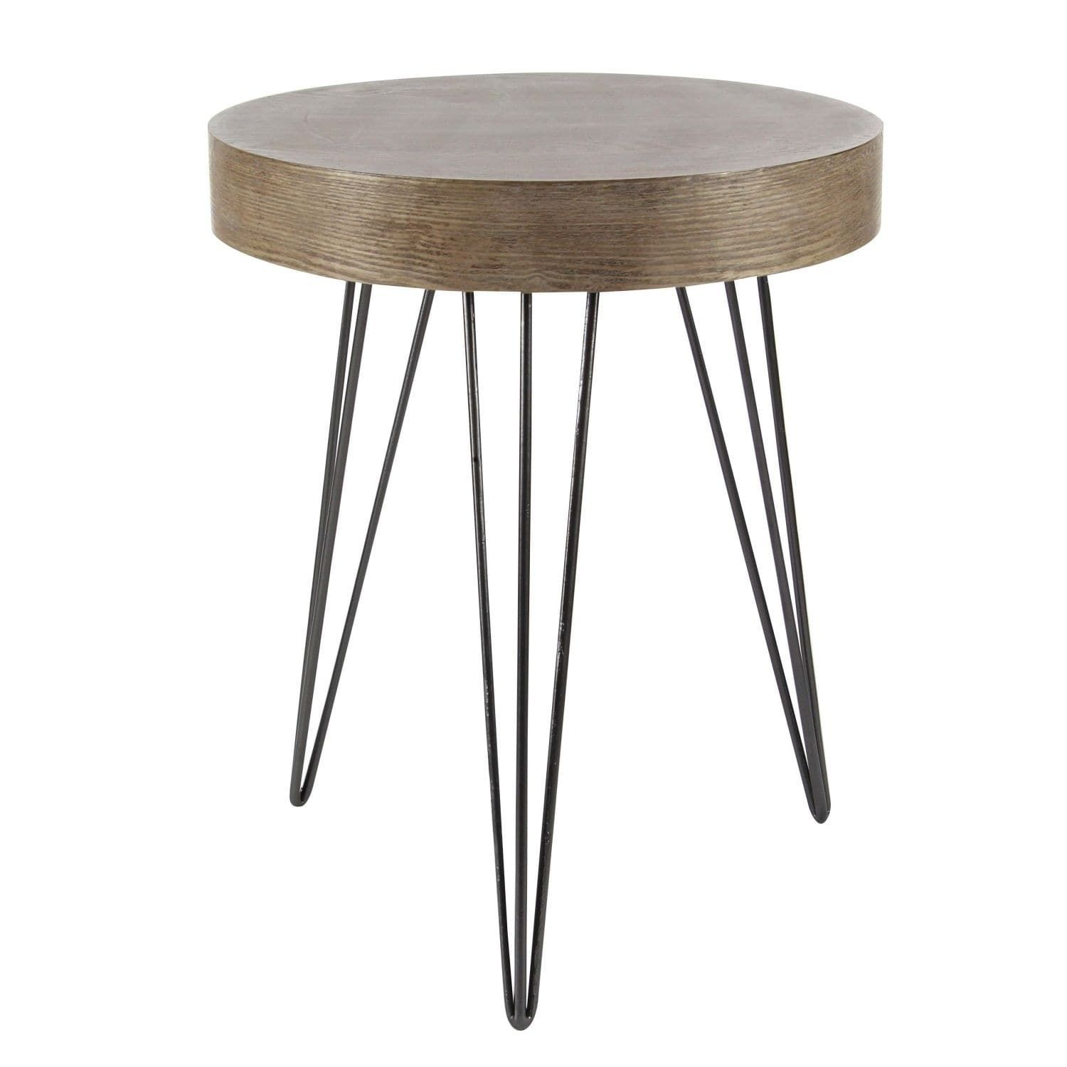 Modern 24 X 20 Inch Wood And Iron Round Accent Table By Studio 350 Brown Round Accent Table Wood End Tables End Tables