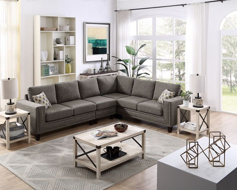 Oah D6155b 4 Pc Stephan Brown Cotton Blended Fabric Sectional Sofa Squared Arms Sectional Sofa Fabric Sectional Sectional Sofa Couch