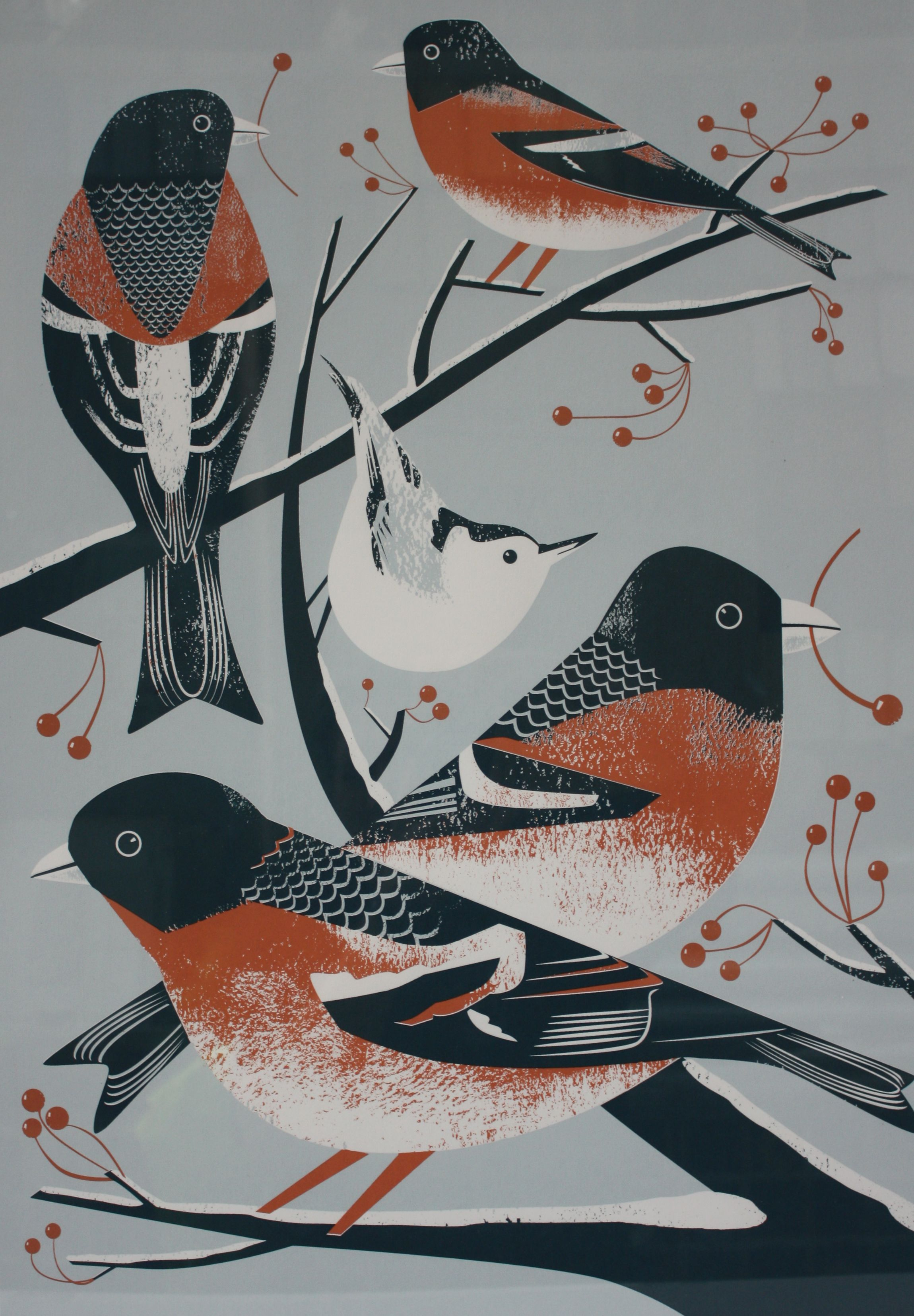 BRAMBLINGS AND A NUTHATCH created by artist Chris Andrews using Farrow & Ball paint (Red Earth, Parma Gray and Hague Blue)